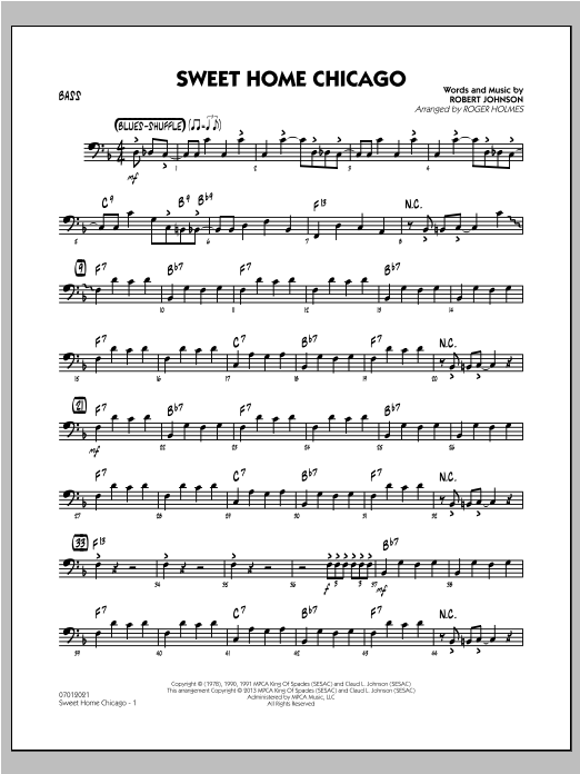 Sweet home chicago ♫ bass tabs ♫ by eric clapton: Sweet Home Chicago Bass Sheet Music To Download