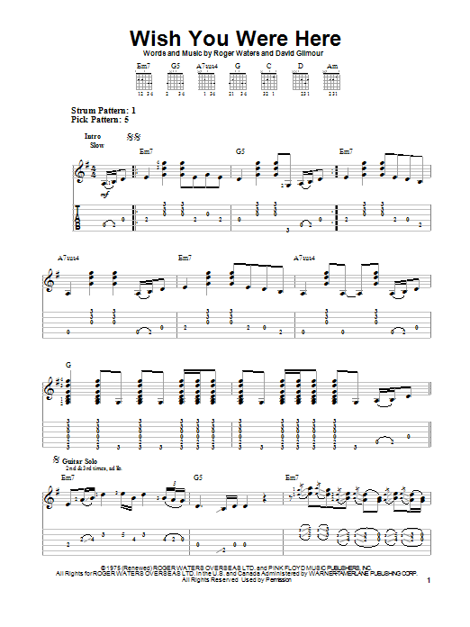 Wish You Were Here By Pink Floyd Easy Guitar Tab Guitar Instructor