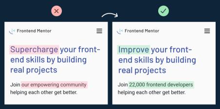 Frontend mentor copywriting