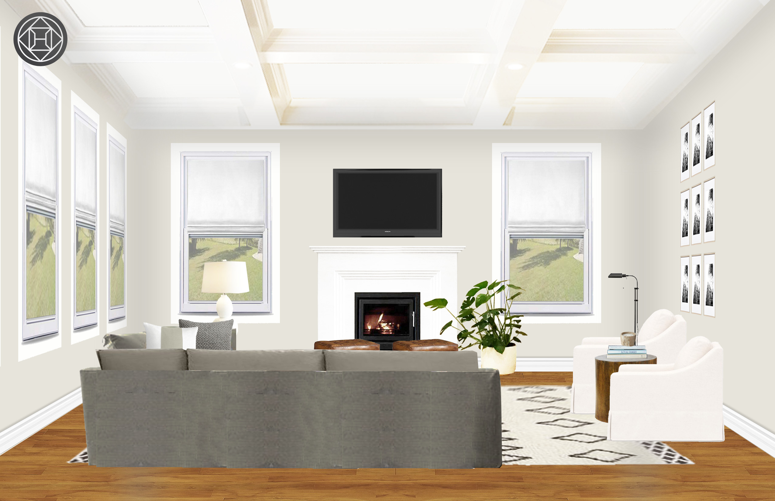 Farmhouse Transitional Minimal Living Room Design By