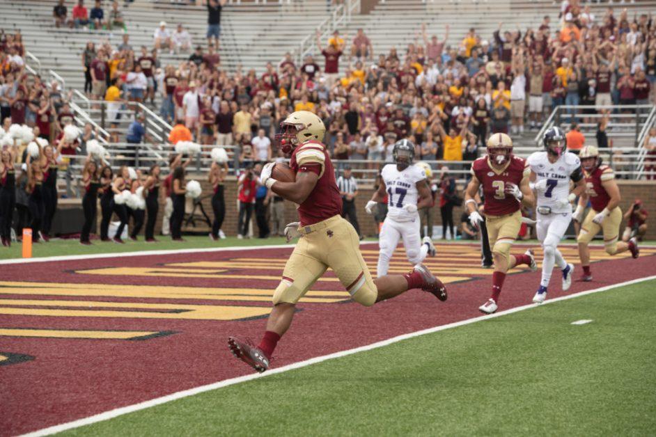 Dillon, Eagles Run Holy Cross Out of Alumni Stadium