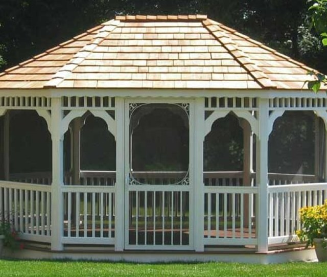 Another Classic Oval Gazebo This Time In Vinyl The Spaces Are Screened In To