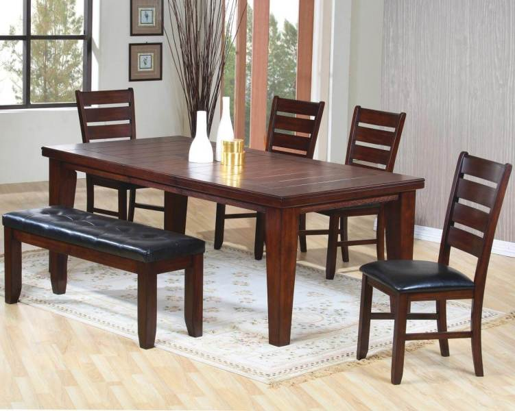 26 Dining Room Sets  Big and Small  with Bench Seating  2018  Solid wood six piece dining set with cushioned bench  The finish is dark  oak wood