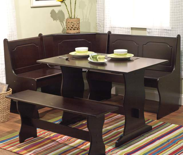 This  Piece Breakfast Nook Is An All Wood Manufactured Wood Dark
