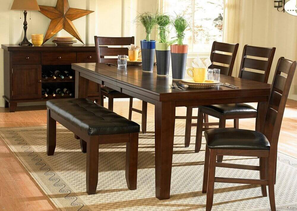 26 Dining Room Sets  Big and Small  with Bench Seating  2018  A stunning dark oak finish  birch veneer dining set with cushioned chairs  and bench