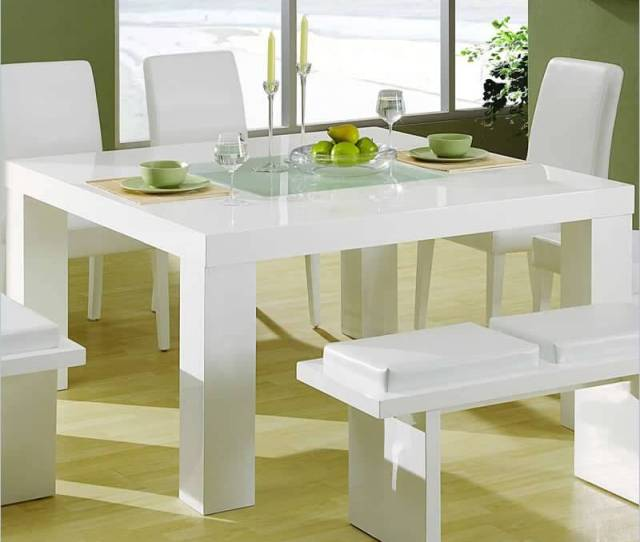 Our Second Square Table Design Features A Glossy White Surface And Ultra Minimalist Design