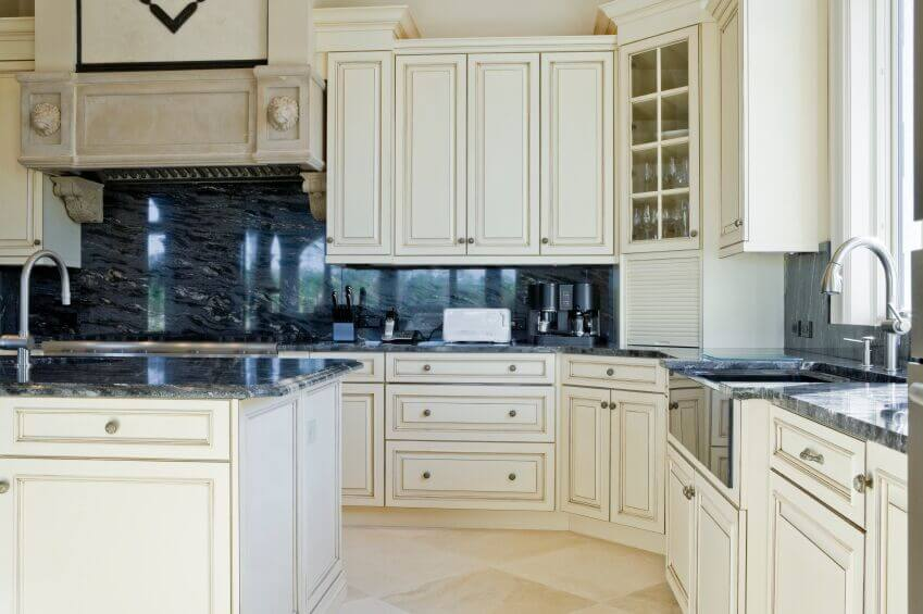 36 Inspiring Kitchens with White Cabinets and Dark Granite ... on What Color Cabinets With Black Granite Countertops  id=59746