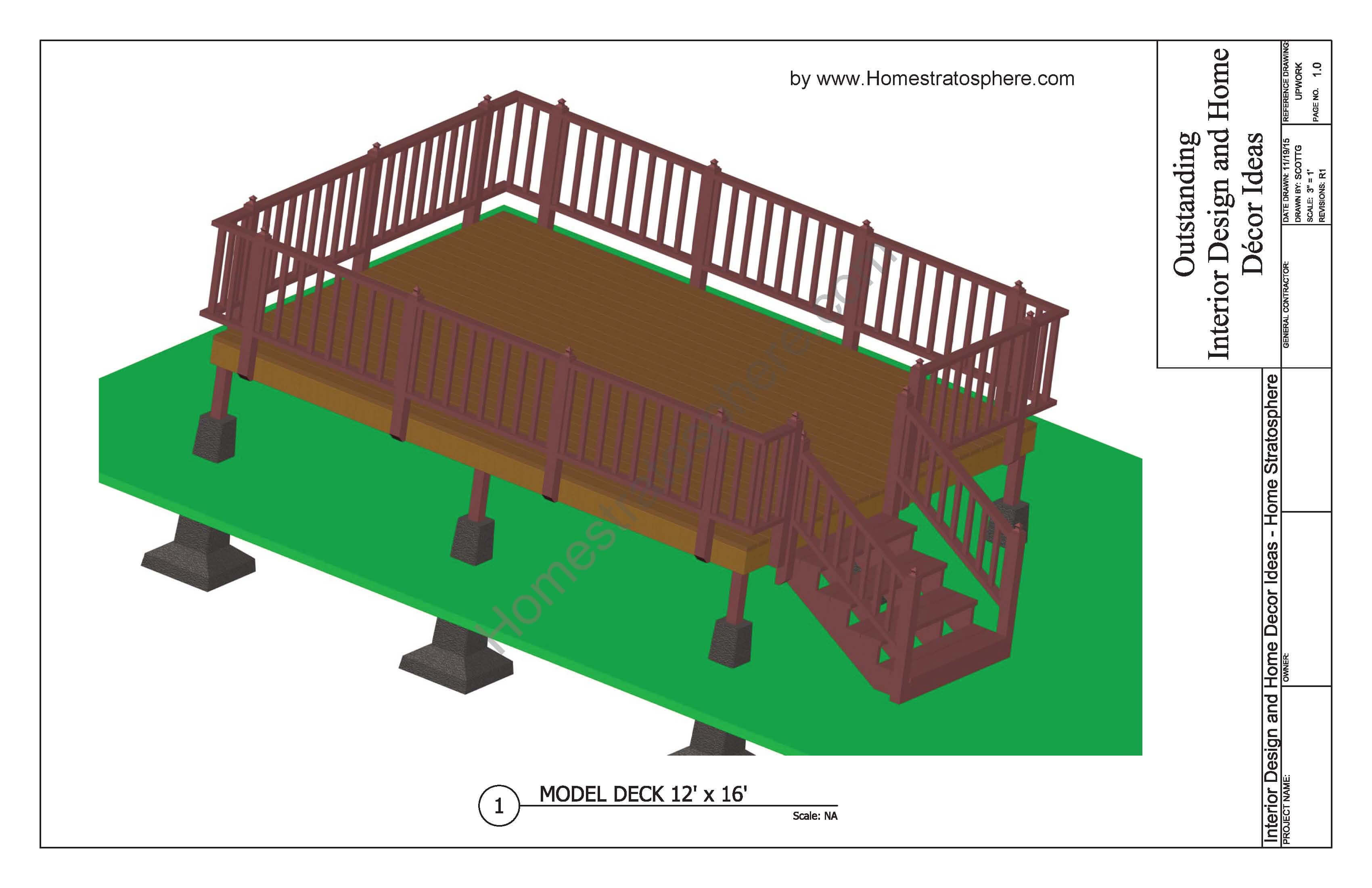 Free 12' X 16' Deck Plan Blueprint (with PDF Document ... on Patio Planner id=32774