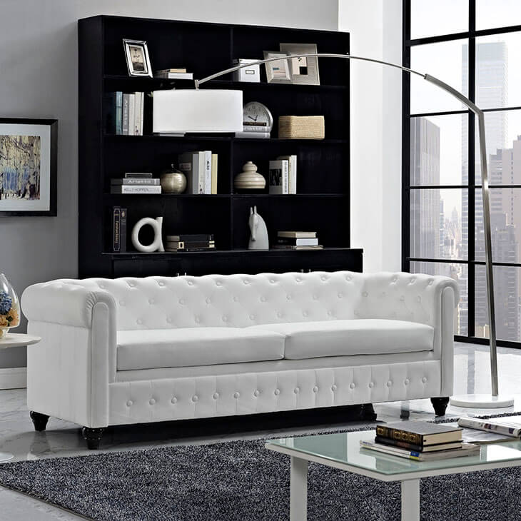 35 Lovely Living Room Sofa Ideas   Home Stratosphere While they may require a bit of attention  stark white furniture can really  make an