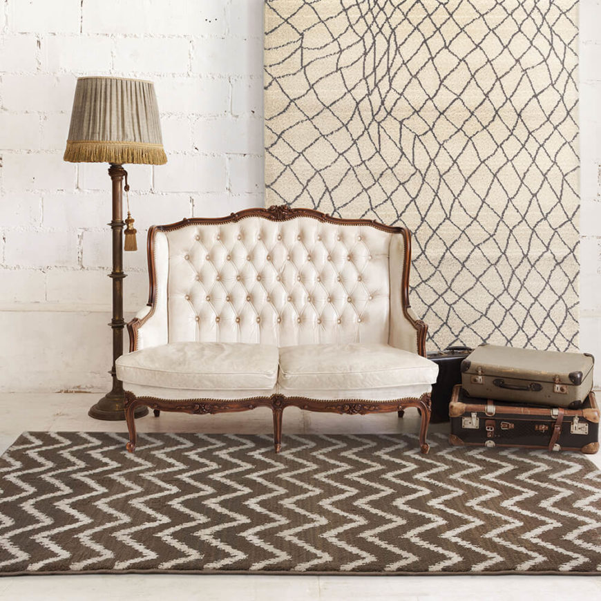 A zigzag brown and cream rug gives character and charm to a basement or den and offers a dose of modern elegance.