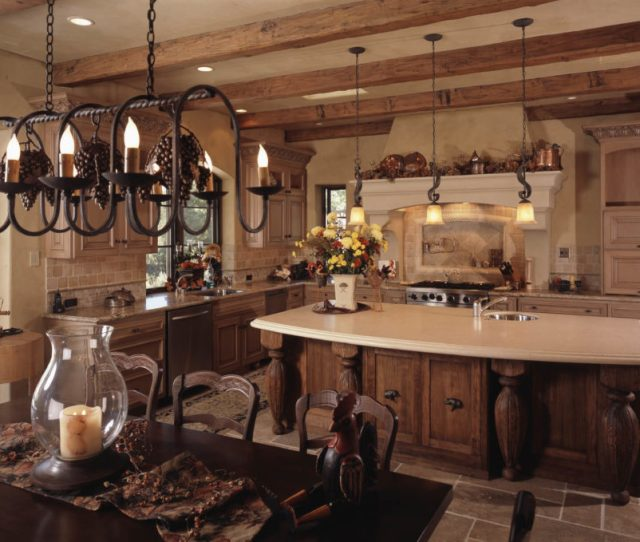 This Mediterranean Kitchen Has A Number Of Detailed And Interesting Lighting Fixtures That Are Amazing At