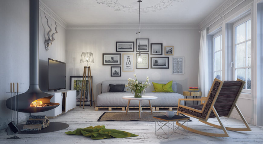Here is a chic and soft sofa that has been placed on wooden pallets for added height and style. This modern chic style mixes simple utility with rustic charm; a custom sofa is the perfect piece to blend these two worlds.