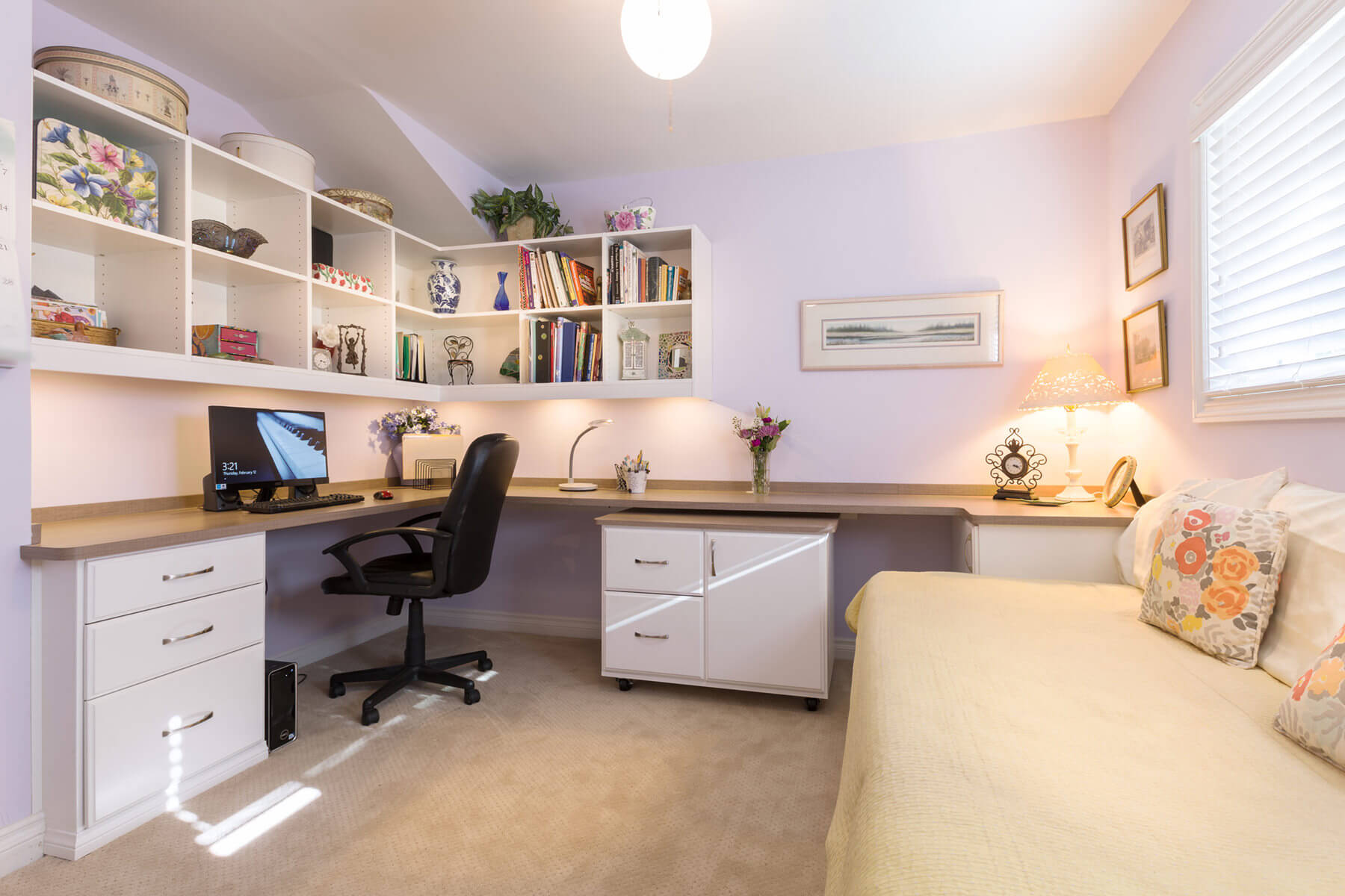 Home Office with U-Shaped Built-In Desk and Floating Bookshelves