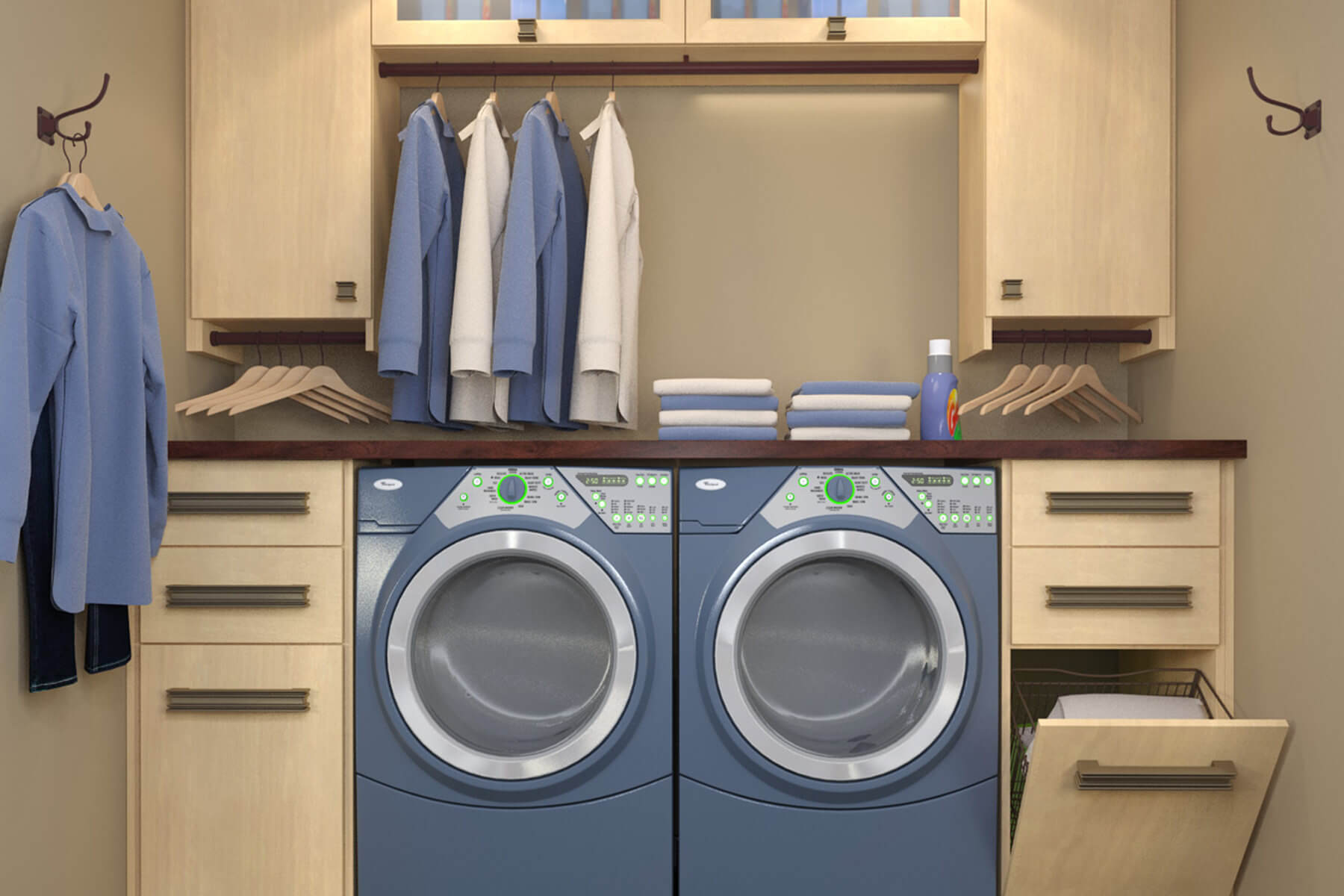 10 Stellar Laundry Room Designs by Closet Factory on Small Laundry Room Cabinets  id=56997