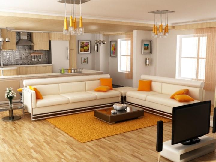 Orange yellow living room designs for Grey yellow orange living room