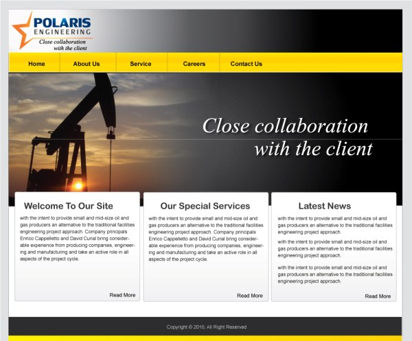 Web Page Design Contests » Polaris Engineering Ltd ...