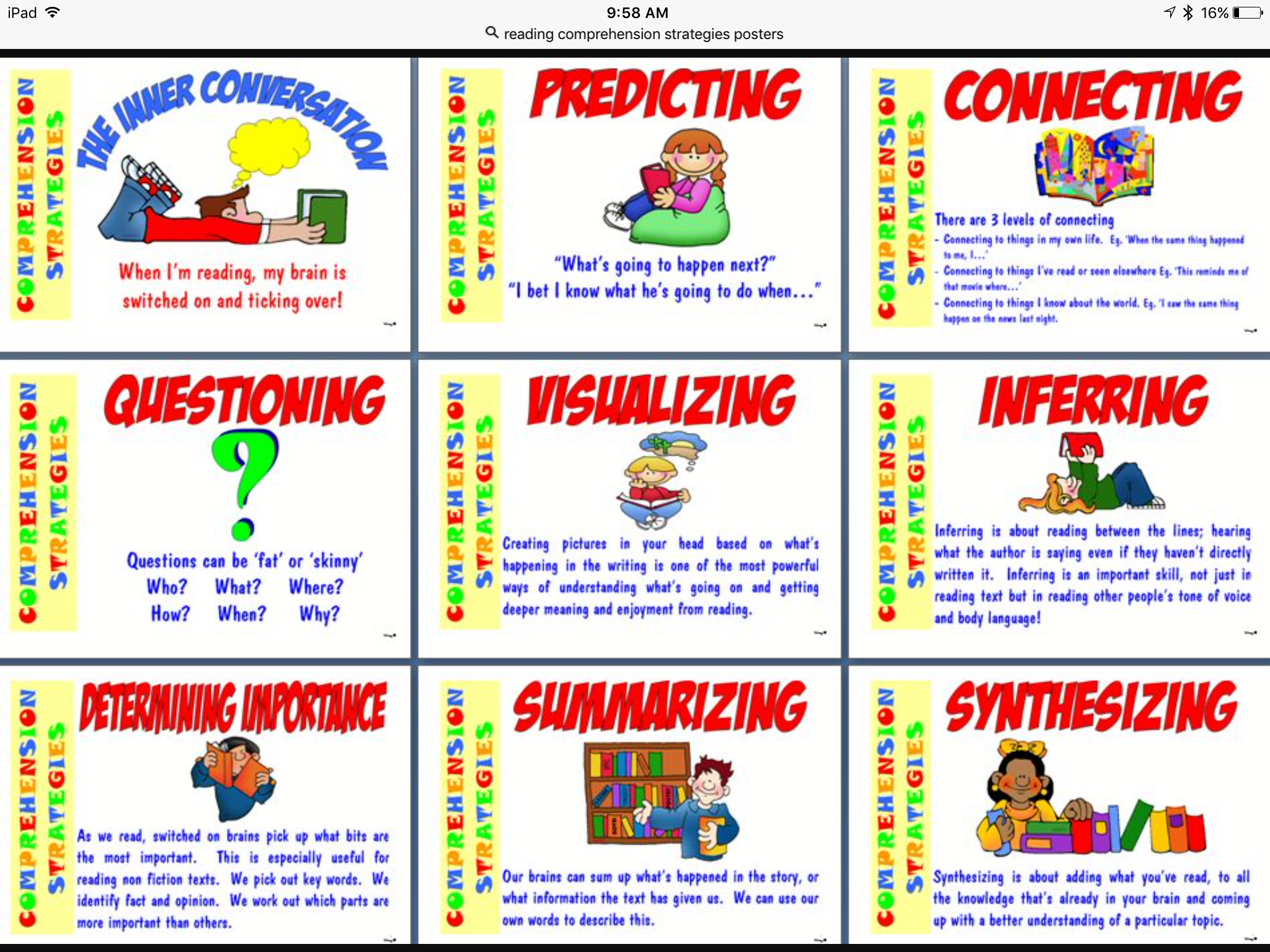 Reading Comprehension Strategies Poster Class F5a