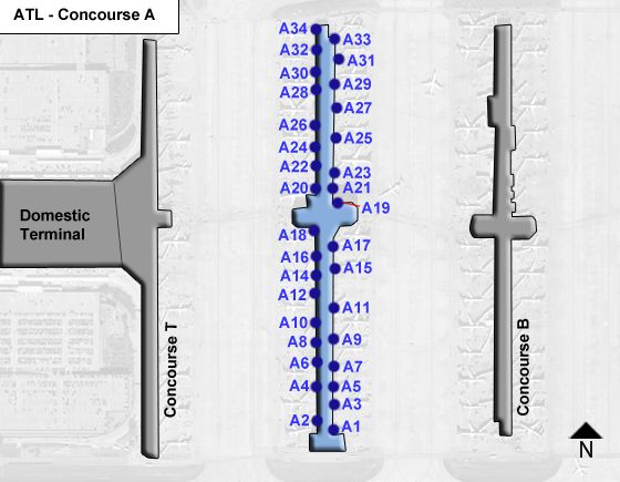 Hartsfield Jackson Atlanta Airport ATL Concourse A Map