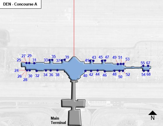 Denver Airport DEN Concourse A Map