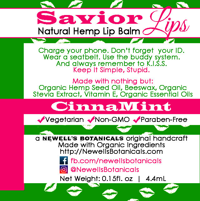 Savior Lips - Natural Hemp Lip Balm | Cinnamint