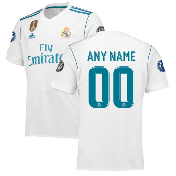 Men's Adidas White Real Madrid 2017/18 Home Custom Replica ...