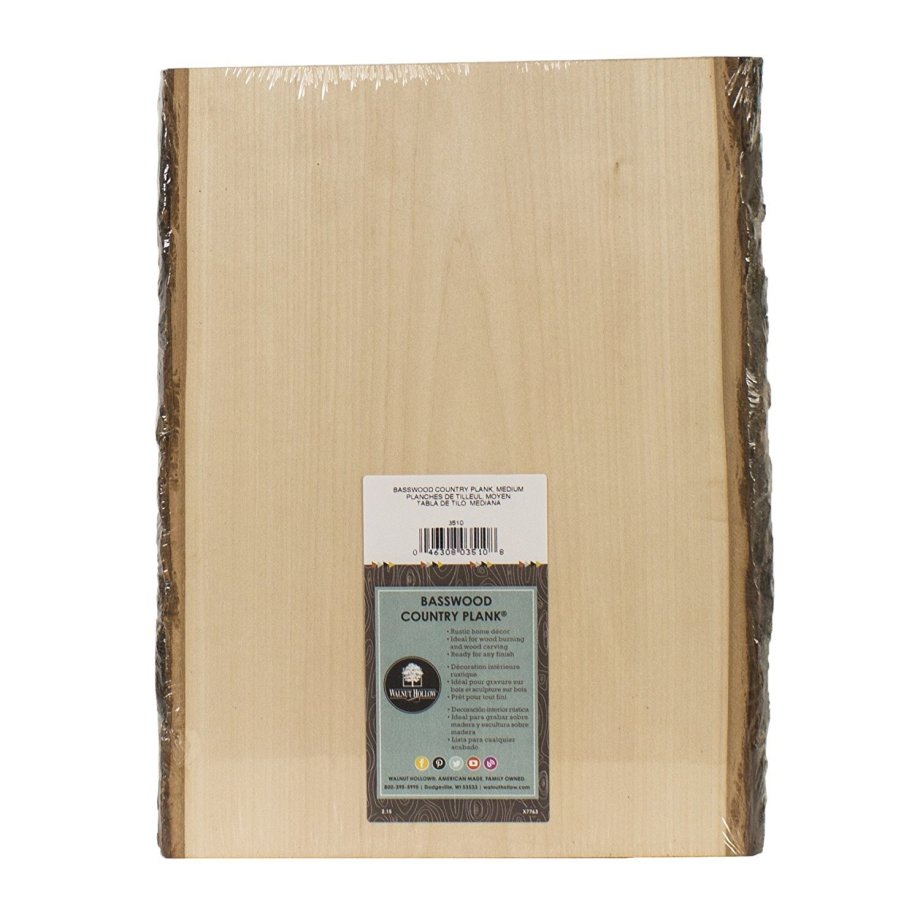 """Basswood Rustic Country Plank Medium - 13"""" L x 9"""" to 11"""" W WP005"""