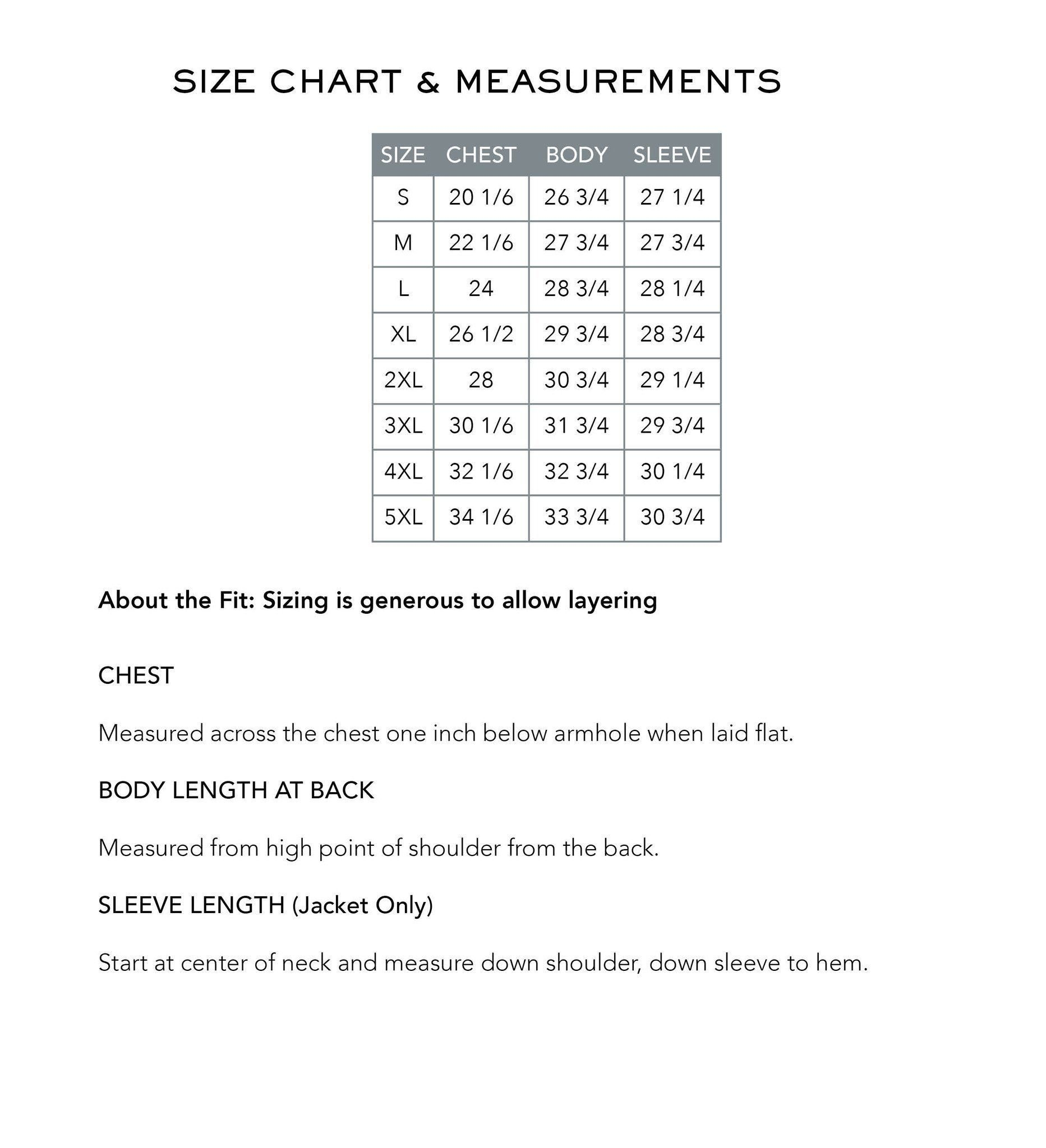 Downwind Jacket in Blindspot Camouflage - Size Chart