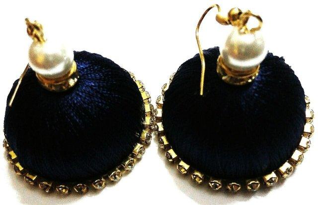 Silk Thread Jhumka Earrings Blue TCJHUM002