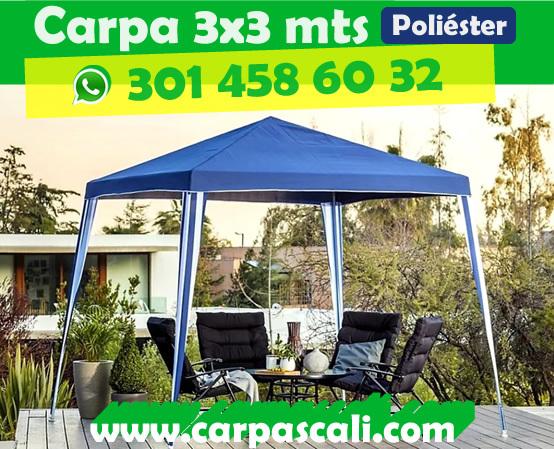 CARPA TOLDO PARASOL DE 3X3 POLIÉSTER AZUL Poliéster3x3Azul