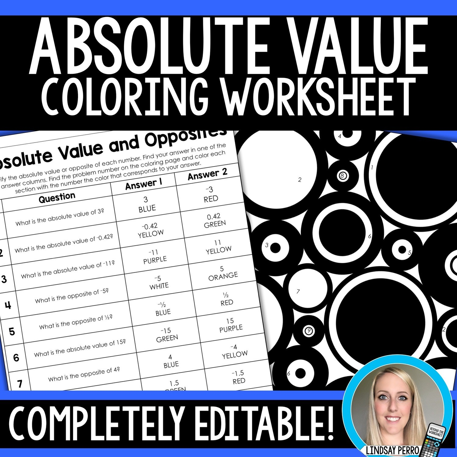 Absolute Value And Opposites Editable Coloring Worksheet