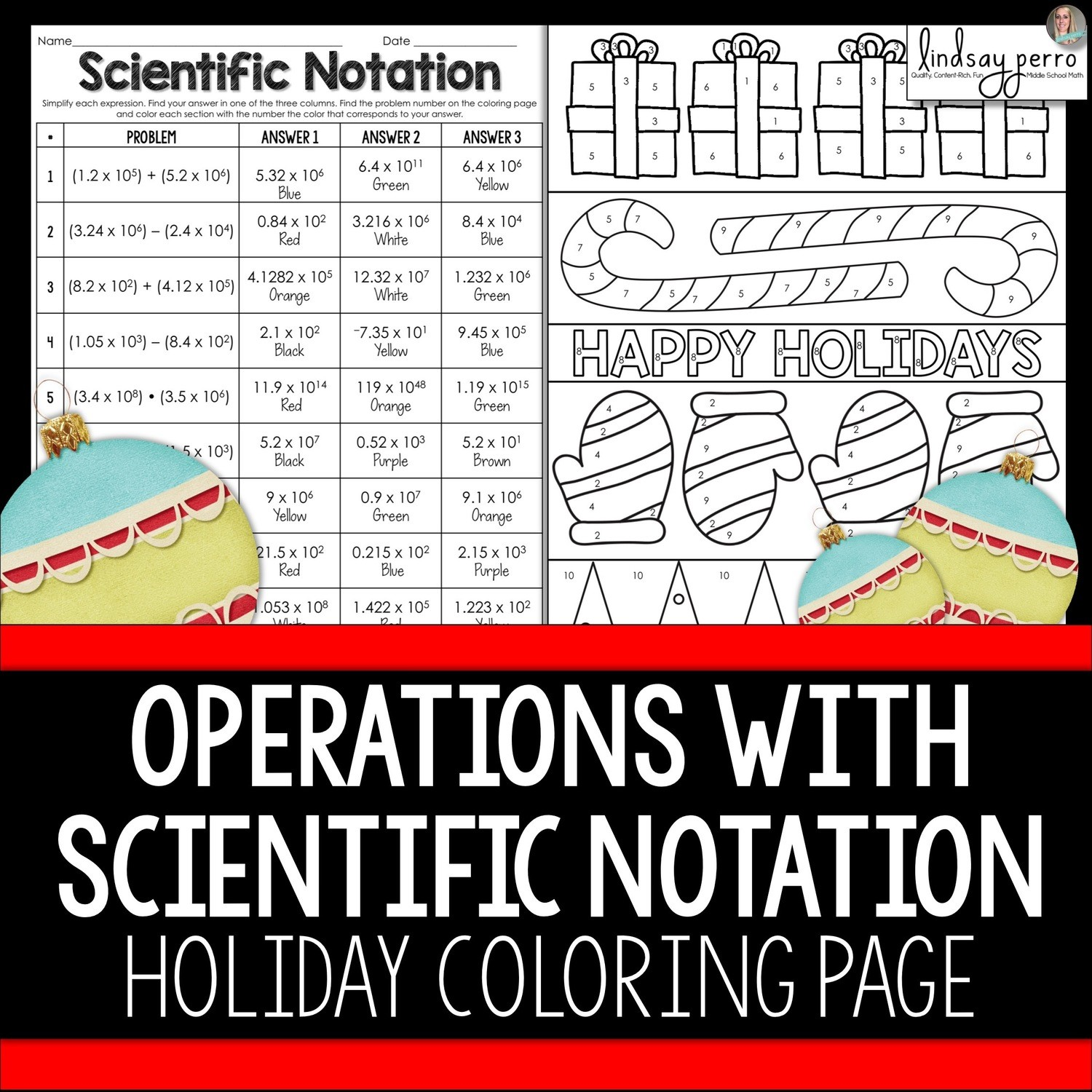 Operations With Scientific Notation Christmas