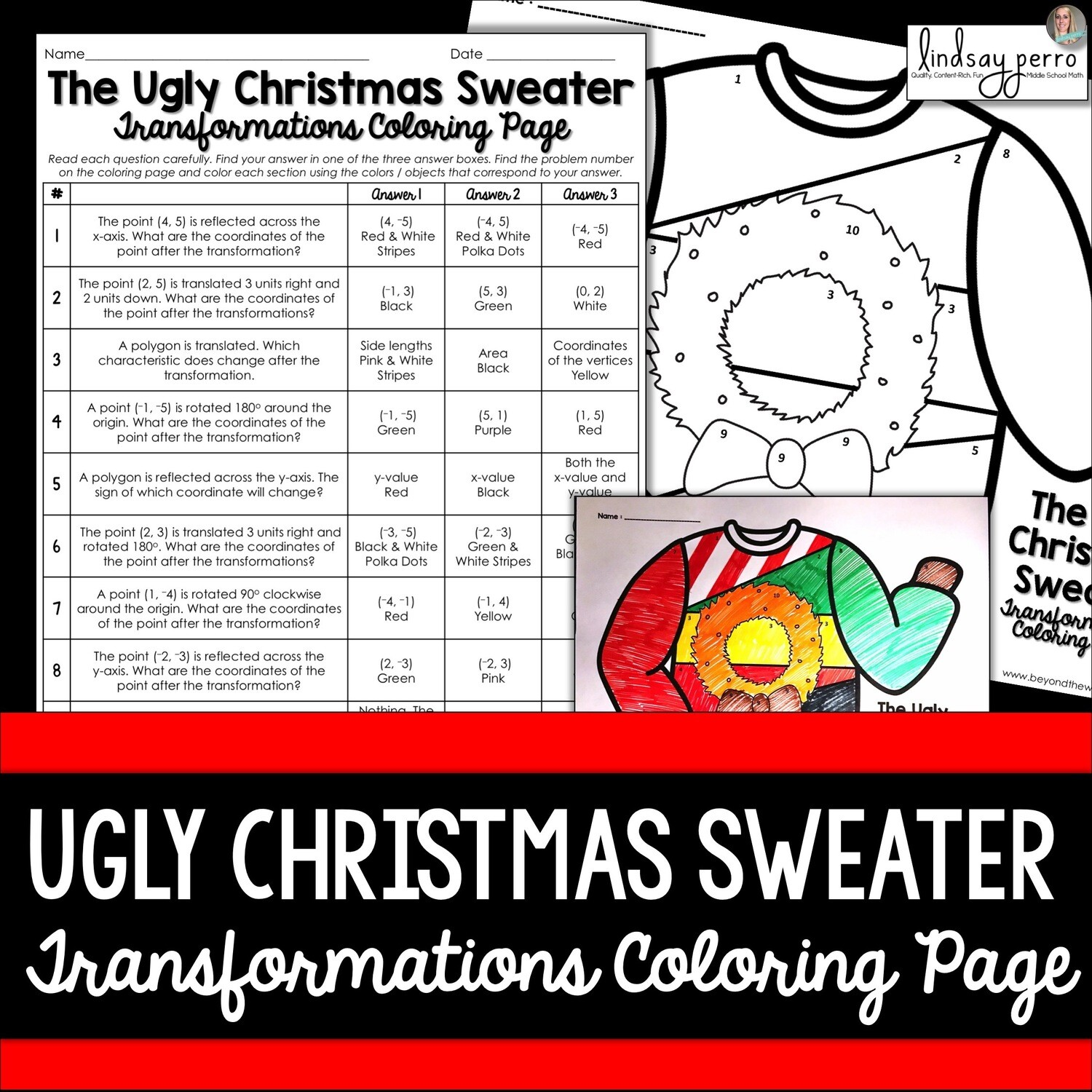 Ordered Pair Transformations Christmas Coloring Worksheet