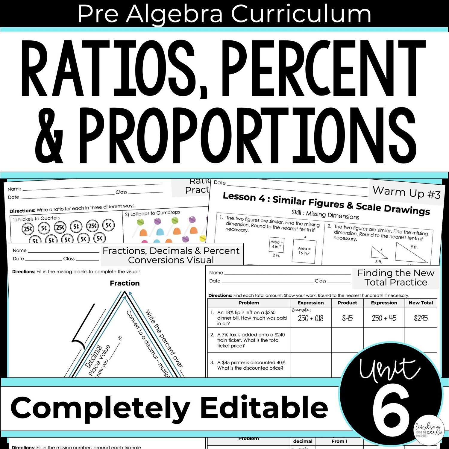 Ratios Proportions And Percents Unit For Pre Algebra