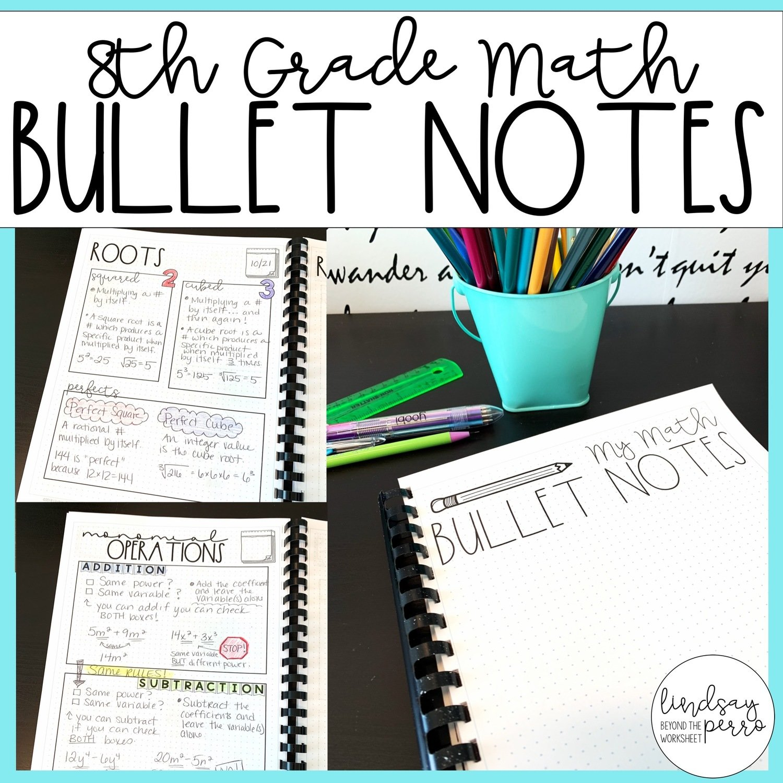 8th Grade Math Bullet Notes