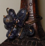 Gunmetal Iolite Petals Ring 00089