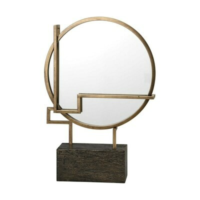 Gold Circular Tabletop Mirror