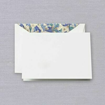 Blue Florentine White Folded Note Set