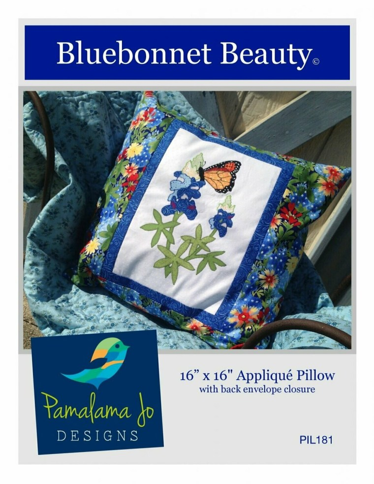 Bluebonnet Beauty Applique Pillow