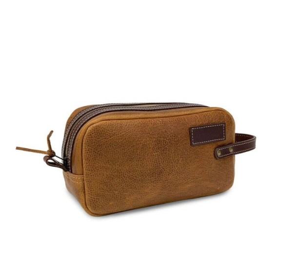 AL Leather Dopp Kit- Tan