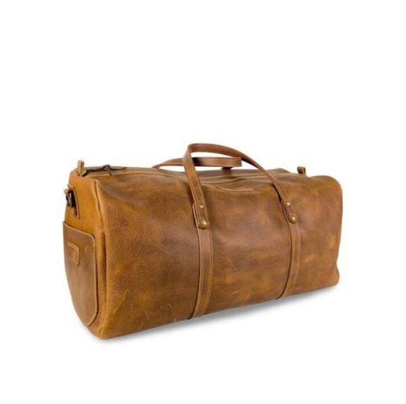 AL Leather Duffel Bag- Tan
