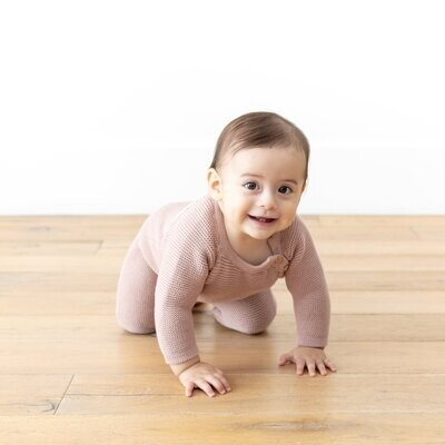 Organic Knit Baby Romper in Berry
