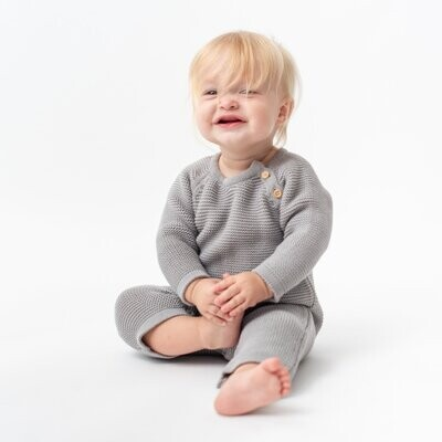 Organic Knit Baby Romper in Gray