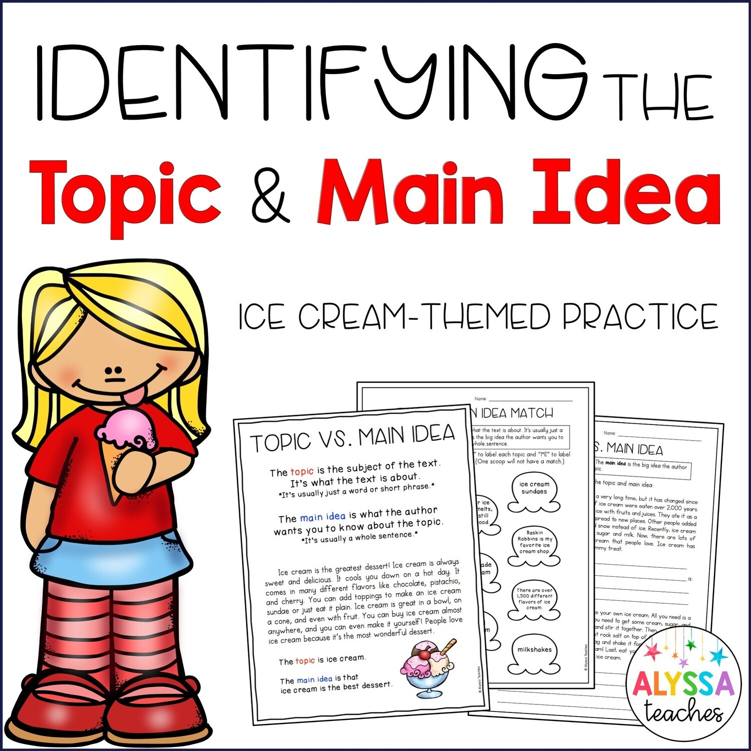 Topic And Main Idea Worksheets Store
