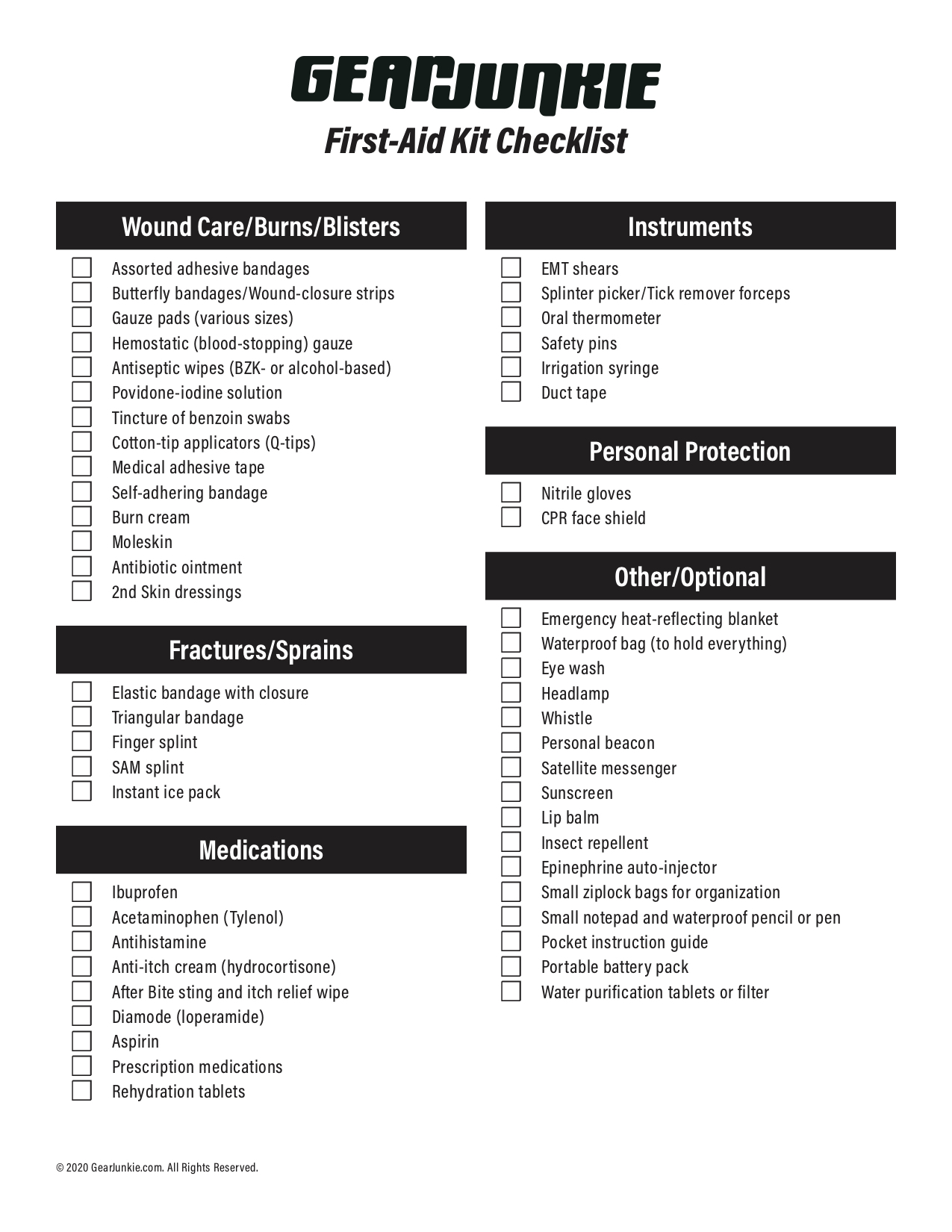 First Aid Kit Checklist Essential Backcountry Medical