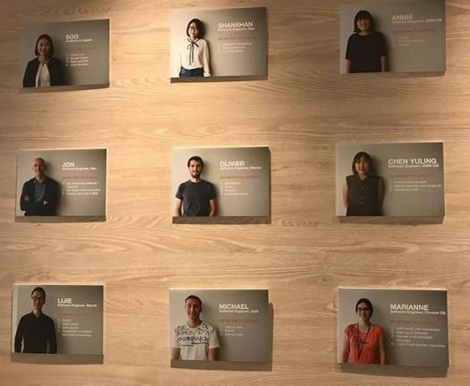 Google Wall Highlighting Employees
