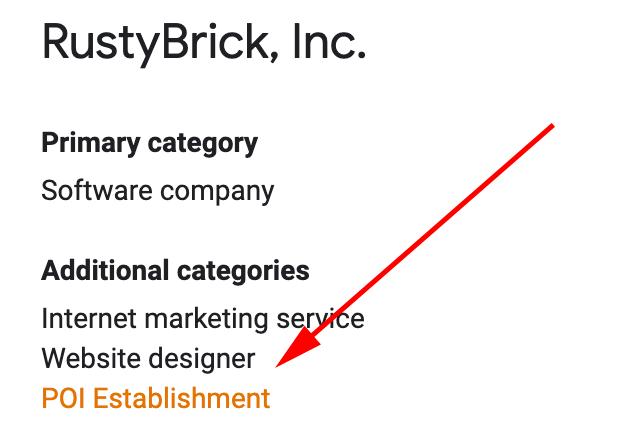 Google My Business Category POI Establishment