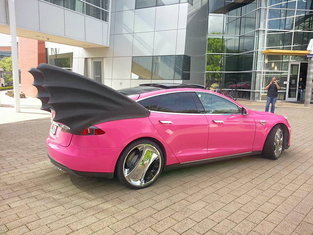 Pink Tesla With Wings At The GooglePlex
