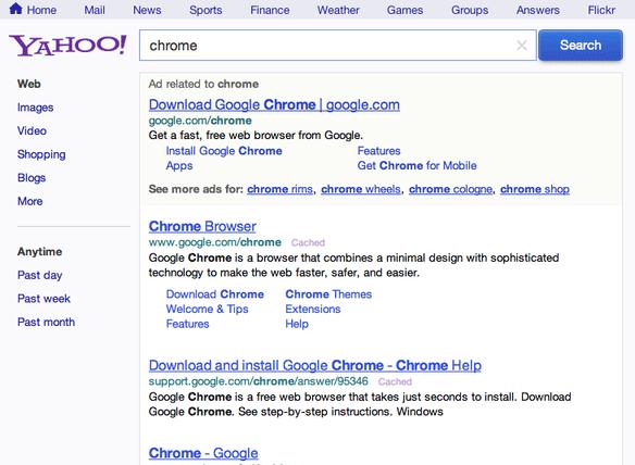 Yahoo Testing Green Search Ads