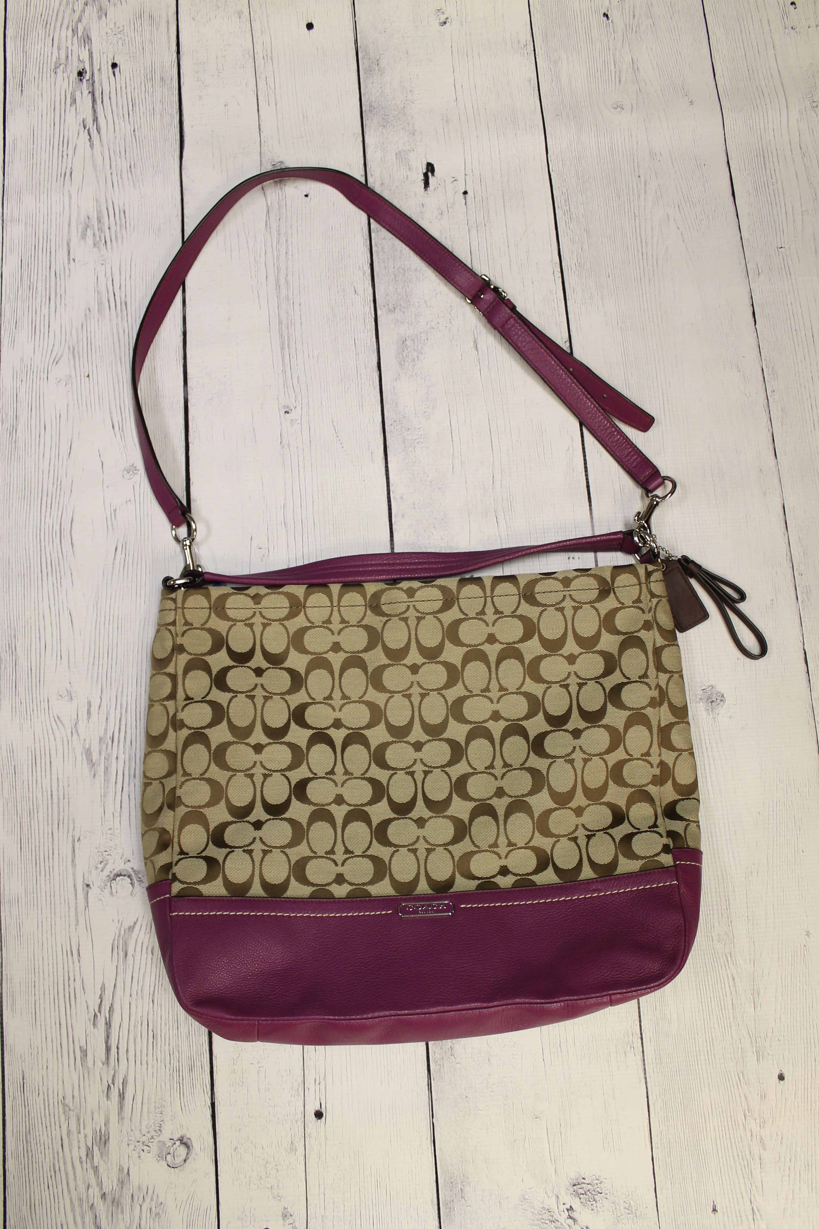 coach brown and purple canvas leather logo cross body