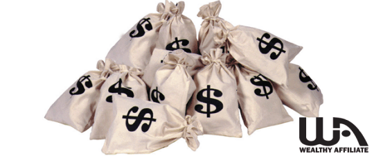 Filled greyish bags with mouths tied and $ written on them